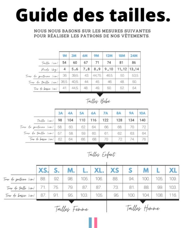 guide des tailles de la marinière bleucocotte